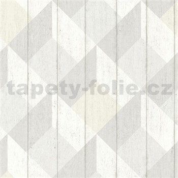 Vliesové tapety na zeď Unplagged 3D dřevěná prkna bílá, šedá, krémová