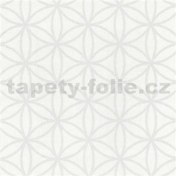 Vliesové tapety na zeď Graphics Alive - geometrické květy bílé