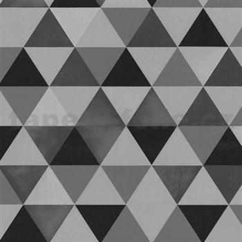 Vliesové tapety na zeď Graphics Alive - geometrický vzor černo-šedý MEGA SLEVA