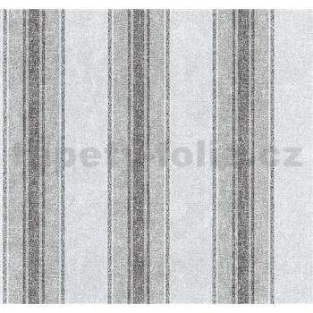 Vliesové tapety na zeď Graziosa pruhy světle hnědo-modré - POSLEDNÍ KUSY