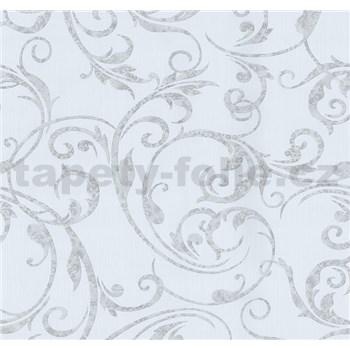 Vliesové tapety Graziosa ornament tmavě šedý na bílém podkladu - POSLEDNÍ KUSY