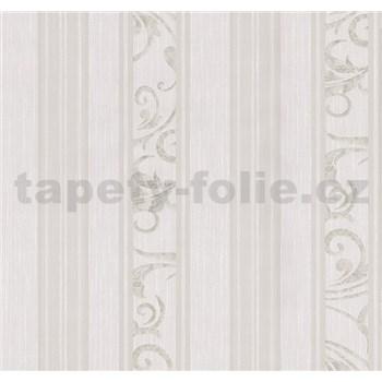 Vliesové tapety na zeď Graziosa pruhy s ornamentem hnědo-krémové POSLEDNÍ KUS