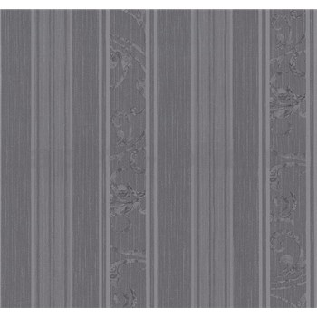 Vliesové tapety na zeď Graziosa pruhy s ornamentem šedo-fialové