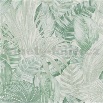 Vliesové tapety na zeď Greenery florální vzor světle zelený