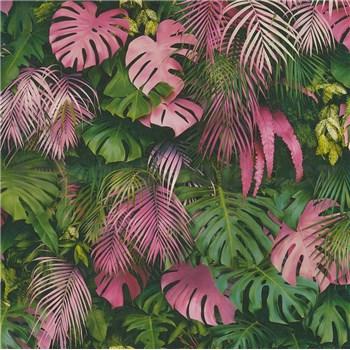 Vliesové tapety na zeď Greenery palmové listy a listy Monstera růžovo-zelené