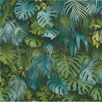 Vliesové tapety na zeď Greenery palmové listy a listy Monstera modro-zelené