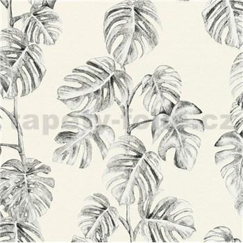 Vliesové tapety na zeď Greenery listy Monstery černé na bílém podkladu