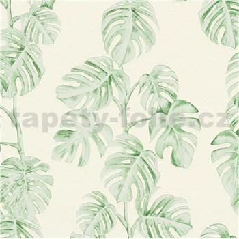Vliesové tapety na zeď Greenery listy Monstery zelené na bílém podkladu