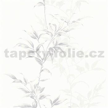 Vliesové tapety na zeď IMPOL Hailey popínavé listy šedé na bílém podkladu