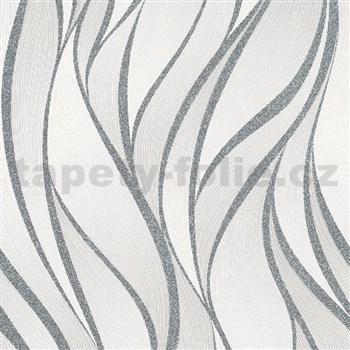 Vliesové tapety na zeď IMPOL Hailey vlnovky stříbrno-krémové