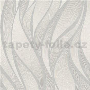 Vliesové tapety na zeď IMPOL Hailey vlnovky stříbrno-hnědé