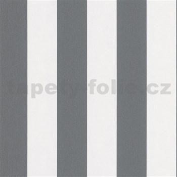 Vliesové tapety na zeď IMPOL Hailey pruhy tmavě šedo-bílé