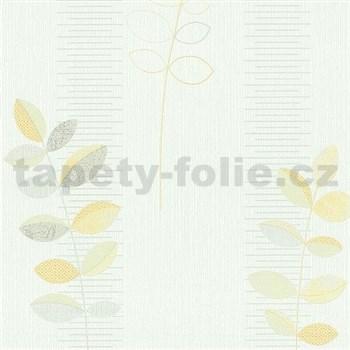 Vliesové tapety na zeď Happiness listy žluté na bílém podkladu - POSLEDNÍ KUSY