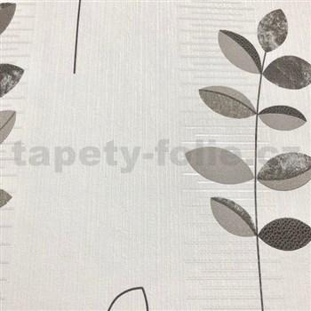 Vliesové tapety na zeď Happiness listy šedo-černé na bílém podkladu