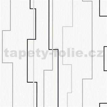 Vliesové tapety na zeď Happiness moderní linie černá, stříbrná, šedá - POSLEDNÍ KUSY