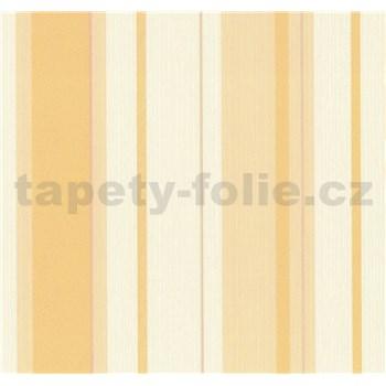 Vliesové tapety na zeď Happiness pruhy žluté na bílém podkladu