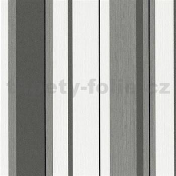 Vliesové tapety na zeď Happiness pruhy černo-šedé
