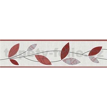 Vinylová bordura Happy Time - lístky červené 5 m x 13,5 cm