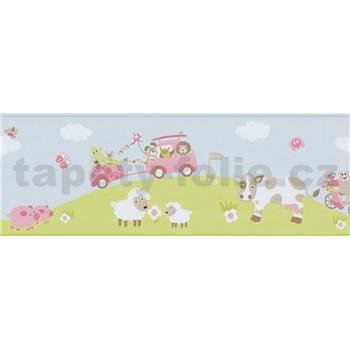 Bordura papírová Happy Kids 2 - zvířecí farma růžová 5 m x 17,7 cm