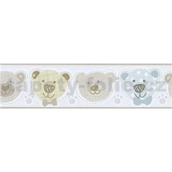 Bordura papírová Happy Kids 2 - medvěd modrý, zelený, hnědý 5 m x 13,6 cm