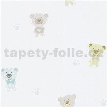 Papírové tapety na zeď Happy Kids 2 - medvěd modrý, zelený, hnědý