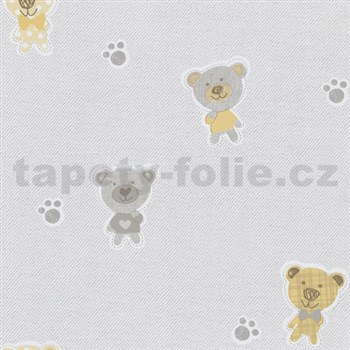 Papírové tapety na zeď Happy Kids 2 - medvěd žlutý, šedý