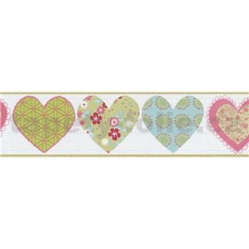 Bordura papírová Happy Kids 2 - srdíčka zeleno-růžové 5 m x 13,4 cm