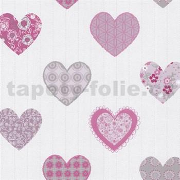 Papírové tapety na zeď Happy Kids 2 - srdíčka růžové