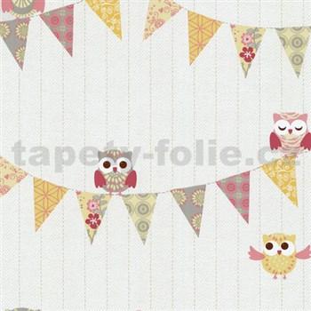 Papírové tapety na zeď Happy Kids 2 - sovy žluto-růžové