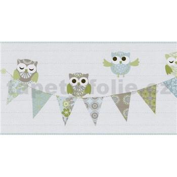 Bordura papírová Happy Kids 2 - sovy modro-zelené 5 m x 26,5 cm
