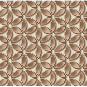 Vliesové tapety na zeď Hexagone květy měděné