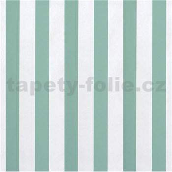 Papírové tapety na zeď pruhy zelené a bílé lesklé