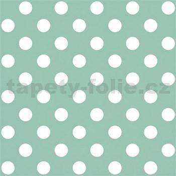 Papírová tapeta na zeď zelená s bílými lesklými puntíky