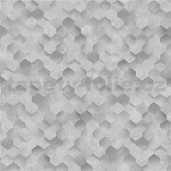 Vliesové tapety na zeď IDEA OF ART plástve tmavě šedé