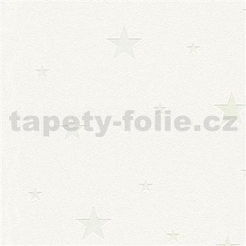 Vliesové tapety na zeď Il Decoro hvězdičky stříbrné na bílém podkladu