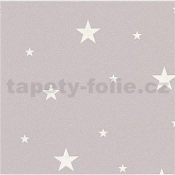 Vliesové tapety na zeď Il Decoro hvězdičky stříbrné na tmavě růžovém podkladu