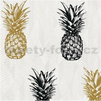 Vliesové tapety na zeď Il Decoro ananasy zlaté a černé na bílém podkladu