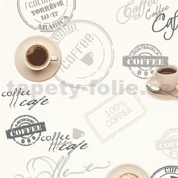 Vinylové tapety na zeď Il Decoro vzor káva na bílém podkladu