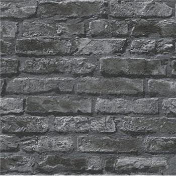 Papírové tapety na zeď Il Decoro cihlová zeď černá