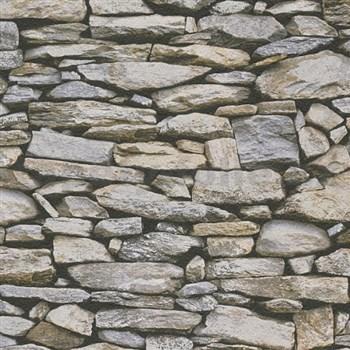 Papírové tapety na zeď Il Decoro ukládaný kámen hnědo-šedý