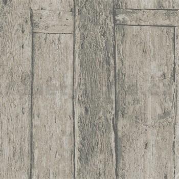 Vliesové tapety na zeď Imagine dřevěný obklad hnědý s výraznou strukturou