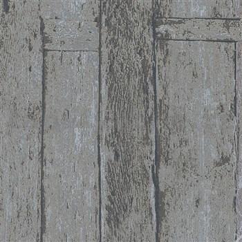 Vliesové tapety na zeď Imagine dřevěnný obklad šedo-hnědý s výraznou strukturou