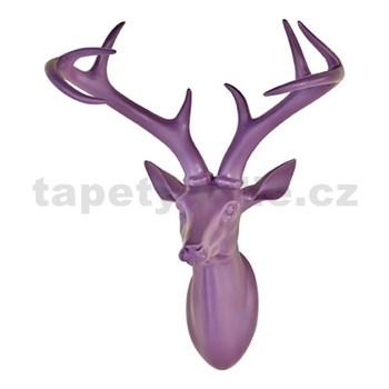 Dekorace na zeď - hlava jelena s parohy - fialová 43 x 33 x 23 cm