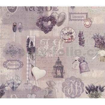 Papírové tapety na zeď Je T´aime provance šedo-fialový