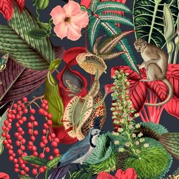 Vliesové tapety na zeď IMPOL Jungle Fever - fauna a flóra růžovo-zelená