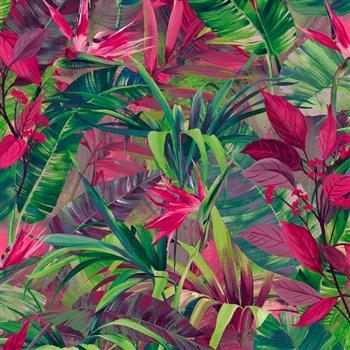 Vliesové tapety na zeď IMPOL Jungle Fever - listy růžovo-zelené