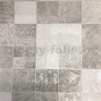 Vinylové tapety na zeď IMPOL obkladový kámen Travertin šedý