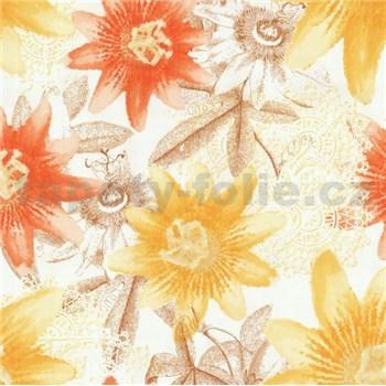 Vliesové tapety na zeď G. M. Kretschmer II květy žluté, oranžové, hnědé