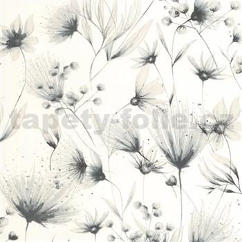 Vliesové tapety na zeď G. M. Kretschmer Sommeraktion květy černo-stříbrné