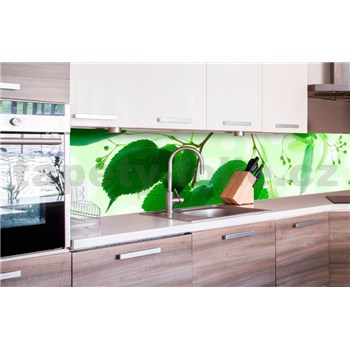 Samolepící tapety za kuchyňskou linku zelené listy rozměr 260 cm x 60 cm